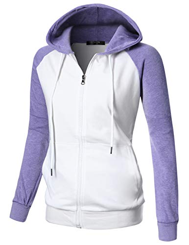 (GIVON Womens Comfortable Long Sleeve Lightweight Raglan Zip-up Hoodie with Kanga Pocket/DCF018-LAVENDER-S)