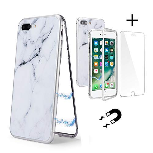 (UEEBAI Case for iPhone 6 6S, Ultra Slim Metal Frame Magnetic Adsorption Chic Marble Pattern Tempered Glass Back Cover with [Tempered Glass Screen Protector] Lightweight Cover for iPhone 6/6S - White)