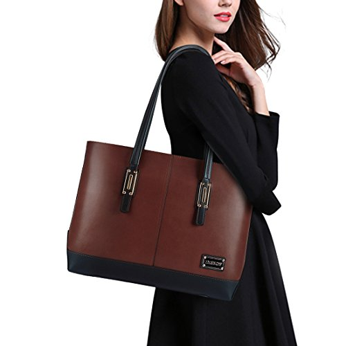 ZMSnow Laptop Bag,Valentines Day Gift, Classic Contrast Color Women Work Tote Bag 15.6 Inch Briefcase for Business
