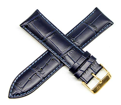 Lucien Piccard 24MM Alligator Grain Genuine Leather Watch Strap 8 Inches Blue with Gold Buckle Fits Monte Viso