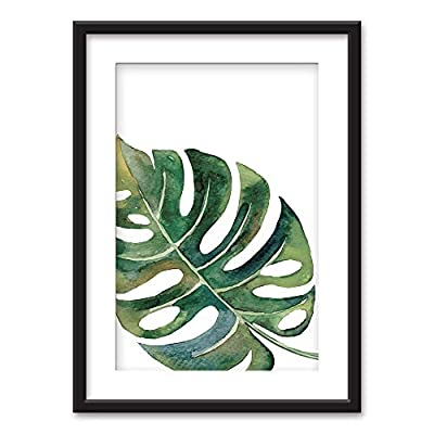 Amazing Picture, Made to Last, Framed Tropical Plant Leaf Black Picture Frames White Matting
