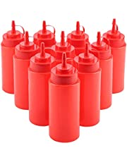 10 Pcs Condiment Squeeze Bottles, 460ml Ketchup Mustard Bottles, Plastic Food Squeeze Bottles, Reusable, with Top Dispensers, Food Grade Sauce Oil Cream Vineger Barbecue Sauce Bottle.(Red)