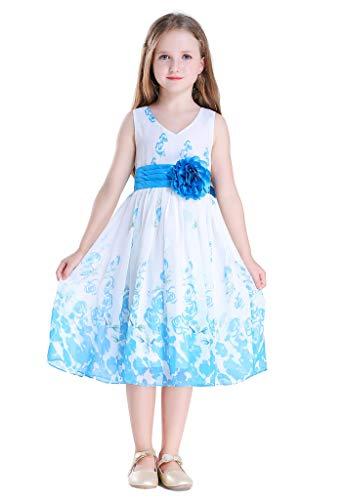 Bow Dream Flower Girl Dress Junior Bridesmaids V-Neckline Chiffon Blue Rose 10