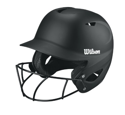 Wilson Collegiate 2.0 Fitting Batting Helmet with Softball Mask, Black, (Collegiate Batting Helmet)