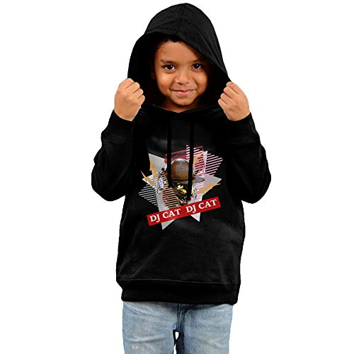 DJ Music Cool Cat With Sunglass Headset Baby Toddler Boy & Girl 2YR-6YR Blank Hooded Sweatshirt Sweater Hoodie Design Long Sleeve Shirt With A - 2 Sunglasses Dj