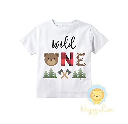 Happy Lion Clothing - Wild One Birthday Boy T-Shirt - Lumberjack Buffalo Plaid Bear First Birthday Raglan Woodland Forest