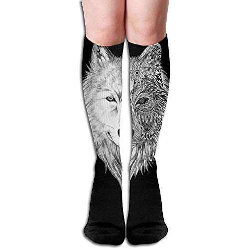 Curitis Tube High Keen Sock Boots Crew Wolf Head Compression Socks Long Sport (Colossus Costume For Sale)
