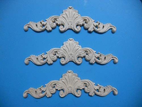 - Blue-Ocean-11-24Pcs/Lot Premintehdw 200x50xThick8mm FURNITURE ARCHITECTURAL APPLIQUES CORNERS FLOWER UNPAINTED Onlay Acanthus Applique