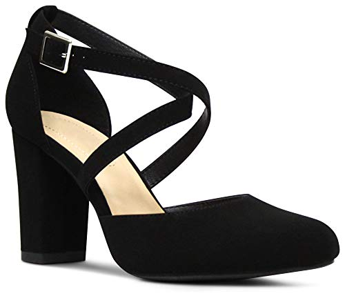 - Women's Almond Toe Ankle Strap Chunky Block Stacked Heels Memory Foam Cushion Dress Shoes - (Black NBPU) - 10