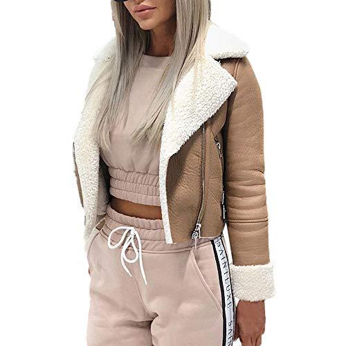 - Inverlee Women Lapel Suede Leather Buckle Cool Pilot Jacket Faux Lamb Wool Motorcycle Jackets
