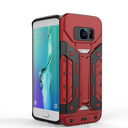 Galaxy S7 Edge Case, Cocomii Transformer Armor NEW [Heavy Duty] Premium Built-in Multi Card Holder Kickstand Shockproof Hard Bumper Shell [Military Defender] Full Body Dual Layer Rugged Cover Samsung (Red)