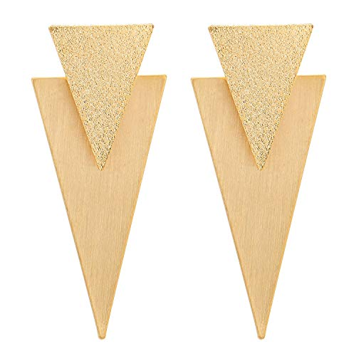 Gold Color Statement Earring Satin Brushed Finishing Double Inverted Triangle Link Large Drop - Inverted Earrings Triangle