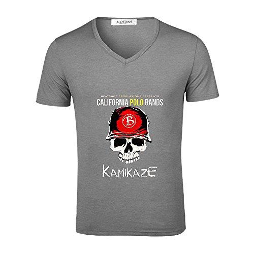 Kamikaze - Single California Polo Bands T Shirts Polo V neck Grey
