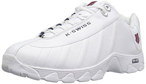 K-swiss Mens St-329 Fashion Sneaker Bianco / Blu Navy / Rosso