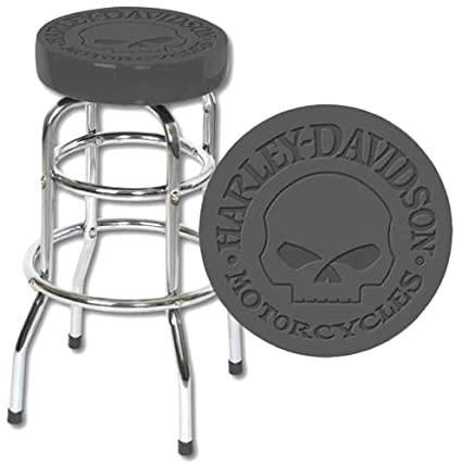 Pleasing Amazon Com Mieres Bar Stool Embossed With Harley Skull Logo Squirreltailoven Fun Painted Chair Ideas Images Squirreltailovenorg
