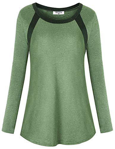 Gym Shirts for Women, Workout Tops Feminine Long Sleeved Long Yoga Winter Clothes Stretchy Loose Fitted Hiking Shirts Basic Soft Comfortable Tunic Blouse Casual Daily Wear Tee Large Sage Green
