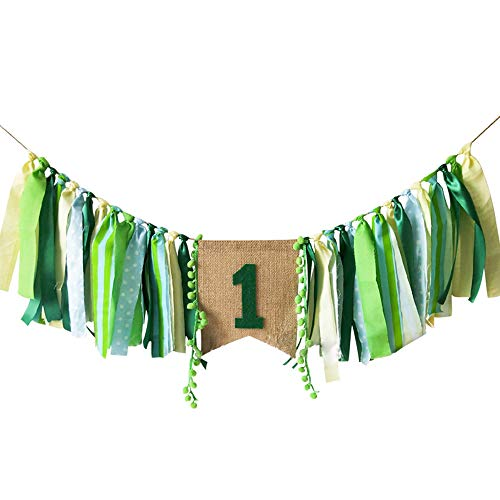 Baby Birthday Decoration - 1st Birthday Baby High Chair Banner Chair Tutu Skirt Decoration for Birthday Party Supplies (Green) ()