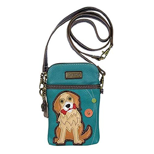 - Chala Crossbody Cell Phone Purse - Women PU Leather Multicolor Handbag with Adjustable Strap - Golden Retriever -Turquoise