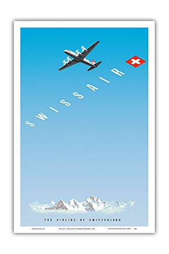 Pacifica Island Art Swiss Alps - Swissair DC-4 - The Airline of Switzerland - Vintage Airline Travel Poster by Hermann Eidenbenz c.1948 - Master Art Print - 12in x 18in ()