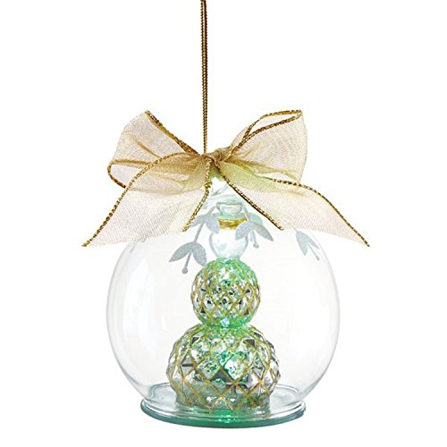 Lenox Wonder Ball Lighted Glass Snowman Ornament Gold Bow LED Multicolored