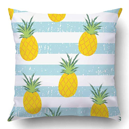 Repeat Stripe - MaterB Throw Pillow Cover Summer Fresh Pineapple Stripe Repeat Wallpaper Home Sofa Decor Square 20x20 inch Zipper Cushion Decorative Print Pillowcase Design Two Side