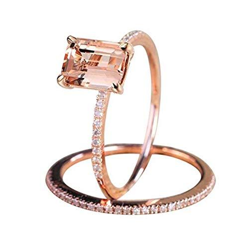 [해외]LOSOUL 2pcs Diamond Bridal Set Rose Gold Engagement Ring And Band Set7# / LOSOUL 2pcs Diamond Bridal Set Rose Gold Engagement Ring And Band Set,7#