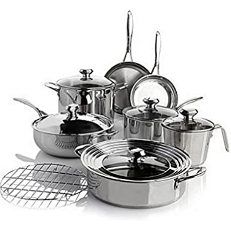 Wolfgang Puck Bistro Elite 13 Piece Stainless Steel Cookware Set By Wolfgang Puck