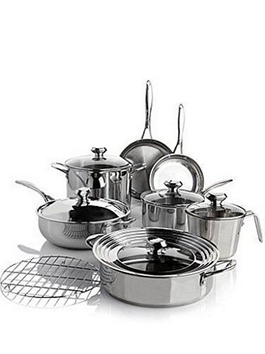 Wolfgang Puck Bistro Elite 13-piece Stainless Steel Cookware Set by Wolfgang Puck (Wolfgang Puck 2 Qt)