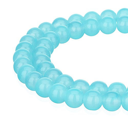 (RUBYCA 1 Strand 6MM Jade Imitation Round Painted Coated Glass Beads Jewelry Making Light Sapphire)