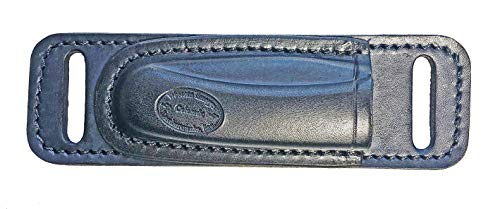 Western Images Leatherworks, Inc Buck 110 Folding Knife Horizontal Leather Sheath for Small of Back Carry-Right Handed (Black) or Left Handed Cross Draw
