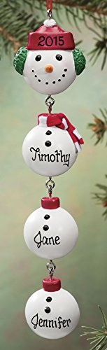 Miles Kimball Personalized Snowman Dangle Ornament by Miles Kimball