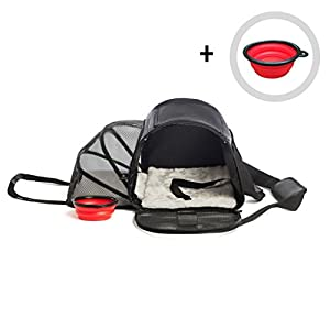 Pet Carrier for Dogs or Cats | Airline Approved Carrying Travel Bag Under Seat, Expandable, Soft Sided | Small and Medium Dog, Cat, Rabbit Carriers Up to 18lbs with Free Travel Bowl by GloBal Pet