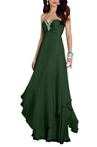 A mit La Chiffon Gruen Partykleider Ballkleider Promkleider Abendkleider mia Festlichkleider Braut Herzausschnitt Linie Rock Langes Dunkel n0qr7wg0f