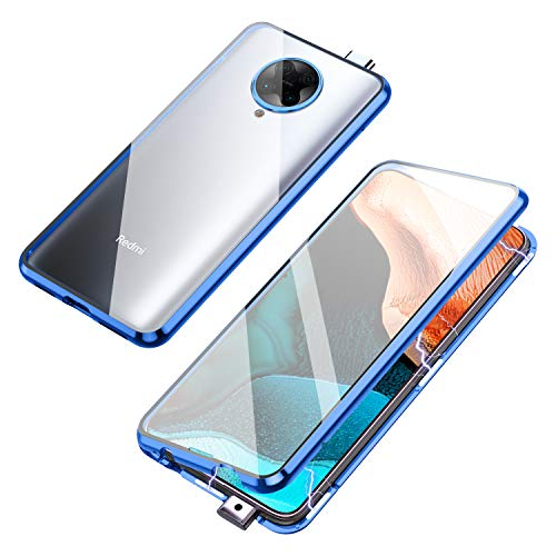 Compatible with Xiaomi Poco F2 Pro/Redmi K30 Pro Case, Jonwelsy 360 Degree Front and Back Transparent Tempered Glass Cover, Strong Magnetic Adsorption Technology Metal Bumper for K30 Pro (Blue)