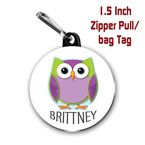 Owl zipper pull/bag tags two 1.5 inch charms personalized with name