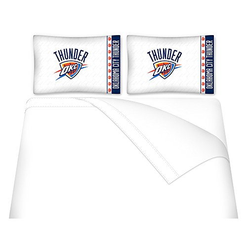 Sports Coverage NBA Oklahoma City Thunder Micro Fiber Sheet Set, Queen, White (Queen Sports Coverage)