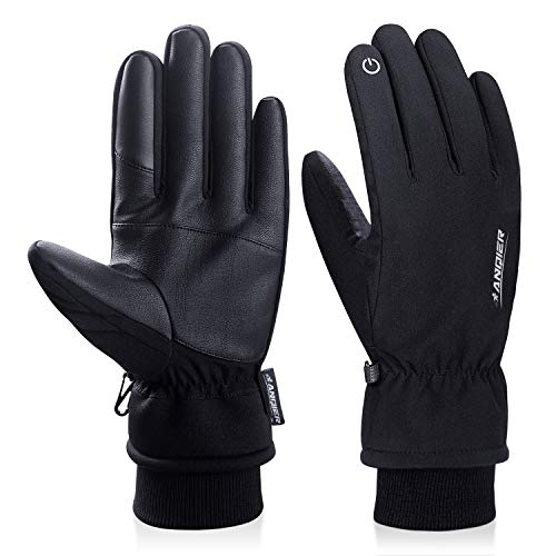 Anqier Winter Gloves Men Women Touchscreen Thermal 3M Thinsulate Windproof Cold Weather Gloves for Running Driving Skiing (Winter Gloves For Men Mittens)