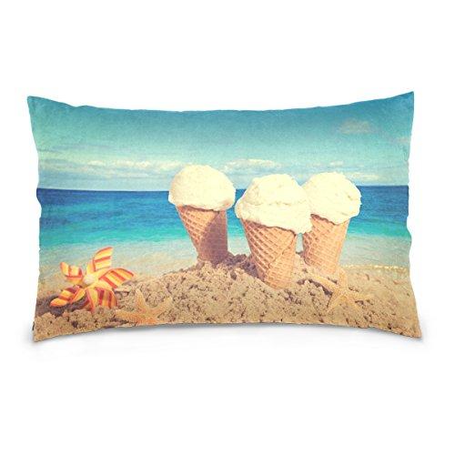 ALAZA Nostalgic Tone Vanilla Ice Cream Sea Beach Cotton Lint Pillow Case,Double-sided Printing Home Decor Pillowcase Size 16