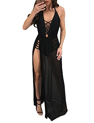 Women's Lace Up Maxi Romper Dress Mesh Patchwork See Through Halter Neck Sleeveless Backless Large Black (Mesh Lace Up Dress)