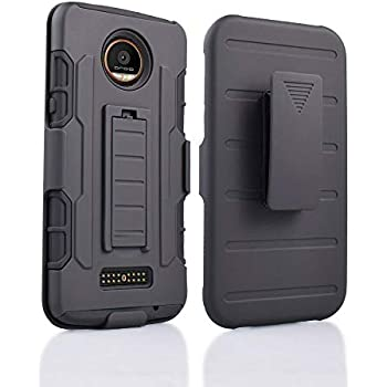 Moto Z Force Case, Customerfirst, Rugged Impact Armor Hybrid Kickstand Cover with Belt Clip Holster Case for Lenovo Moto Z Force 5.5-inch Free Emoji ...