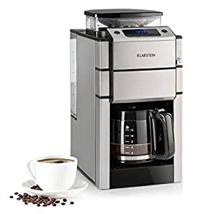 KLARSTEIN Aromatica X Máquina de café con molinillo conico- 3 Niveles de molido, Temporizador Regulable, Pantalla LED, Conserva el Calor, hasta 12 ...