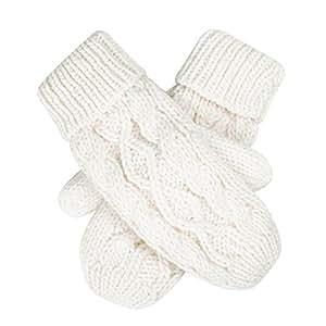 HDE Women's Winter Crochet Twist Cable Knit Hand Warmer Mitten Gloves (Cream)