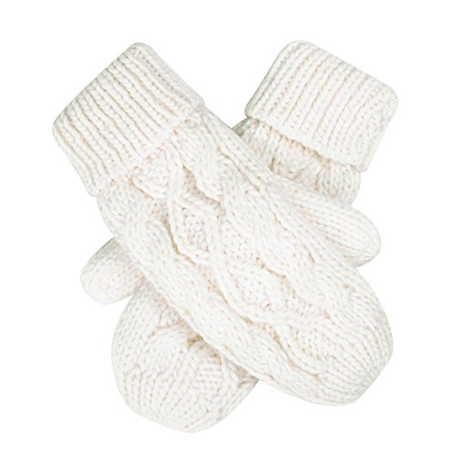 HDE Womens Winter Gloves Crochet Twist Cable Knit Hand Warmer Mittens,White,One Size