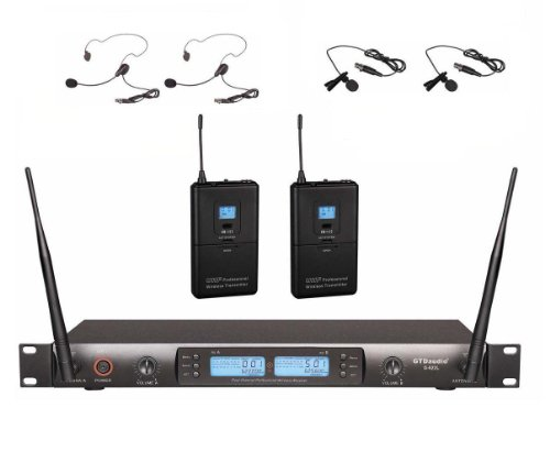 GTD Audio G-622L UHF 200 Channel Professional Wireless Microphone System (Headset & Lapel Lavalier Mic)