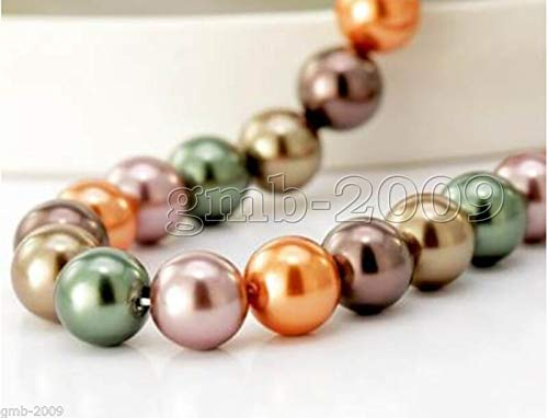 Fricgore, Handmade Jewelry, 8-12mm Multicolor South Sea Shell Pearl Loose Beads Gemstones 15