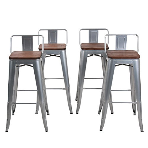 Changjie Furniture Low Back Metal Bar Stool for Indoor-Outdoor Kitchen Counter Bar Stools Set of 4 (30 inch, Low Back Silver with Wooden Top) (Autumn Bar Stool Rust)