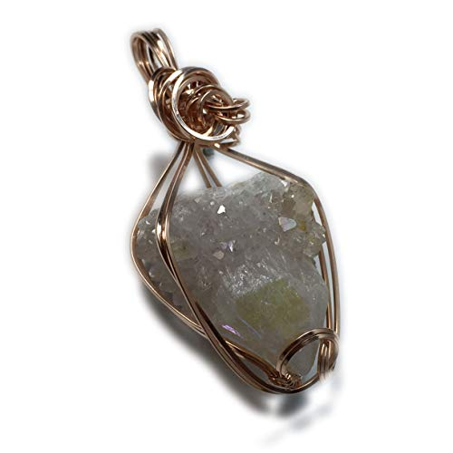 Spirit Quartz Pendant Violet Aura Rose Gold Filled w/necklace Jewelry 26RSC