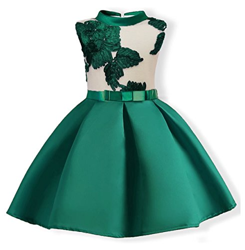 Oukaiyi Baby Girl Dress Party Wedding Flower Dresses Sleeve Gowns(Green,5-6Y)