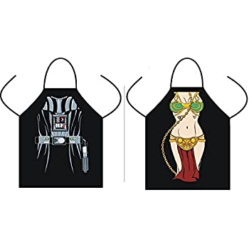 (Set of 2) Star Wars Aprons for Kitchen Cooking and BBQing (Leah, Darth Vader)