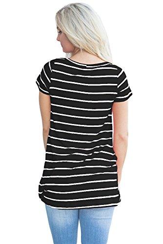 Neuf femmes Noir et blanc à rayures froncée avant T-shirt Club Wear TOPS Tenue décontractée Vêtements Taille L UK 12EU 40